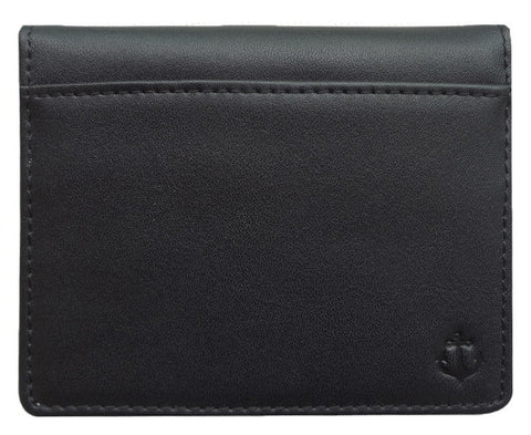 Black Grained-Leather Bi-Fold Wallet