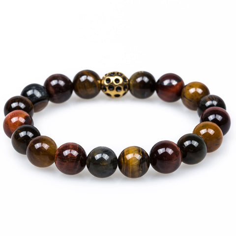 Oak Tiger's Eye Gold Lava Bracelet