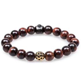 Obsidian Red Tiger Eye Skull Bracelet