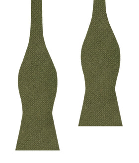 Olive Green Basket Weave Linen Self Bow Tie