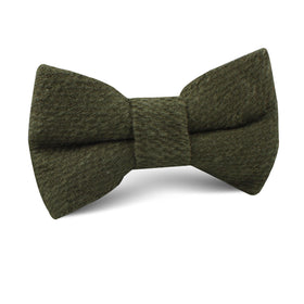 Olive Green Coarse Linen Kids Bow Tie