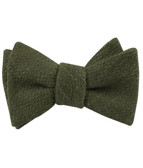Olive Green Coarse Linen Self Bow Tie