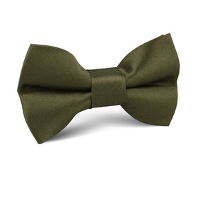 Olive Green Satin Kids Bow Tie