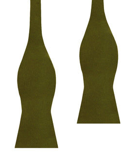 Olive Green Satin Self Bow Tie