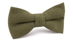 Olive Green Basket Weave Linen Bow Tie