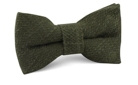 Olive Green Coarse Linen Bow Tie