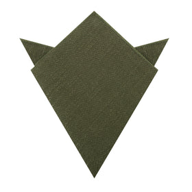 Olive Green Coarse Linen Pocket Square