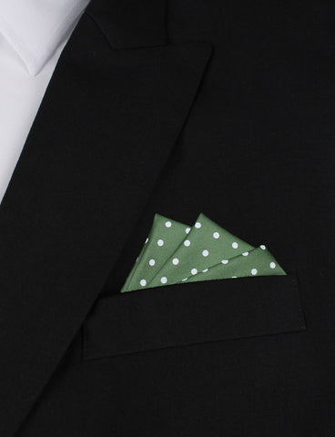 Olive Green Cotton with Mini White Polka Dots Pocket Square