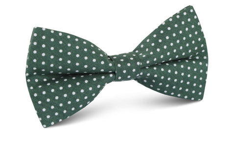 Olive Green Polka Dot Cotton Bow Tie