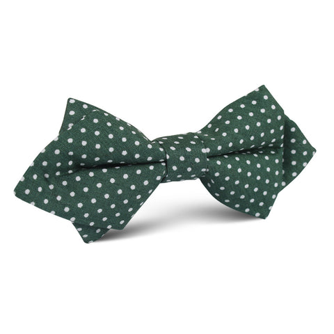 Olive Green Polka Dot Cotton Diamond Bow Tie