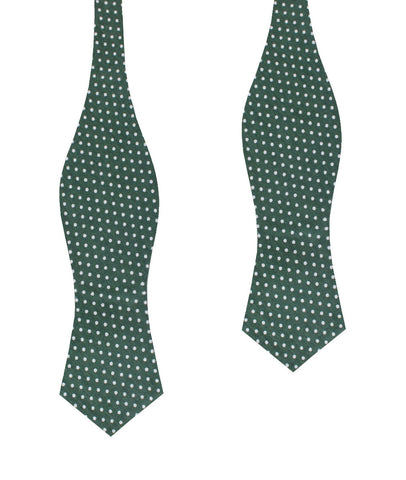 Olive Green Polka Dot Cotton Diamond Self Bow Tie