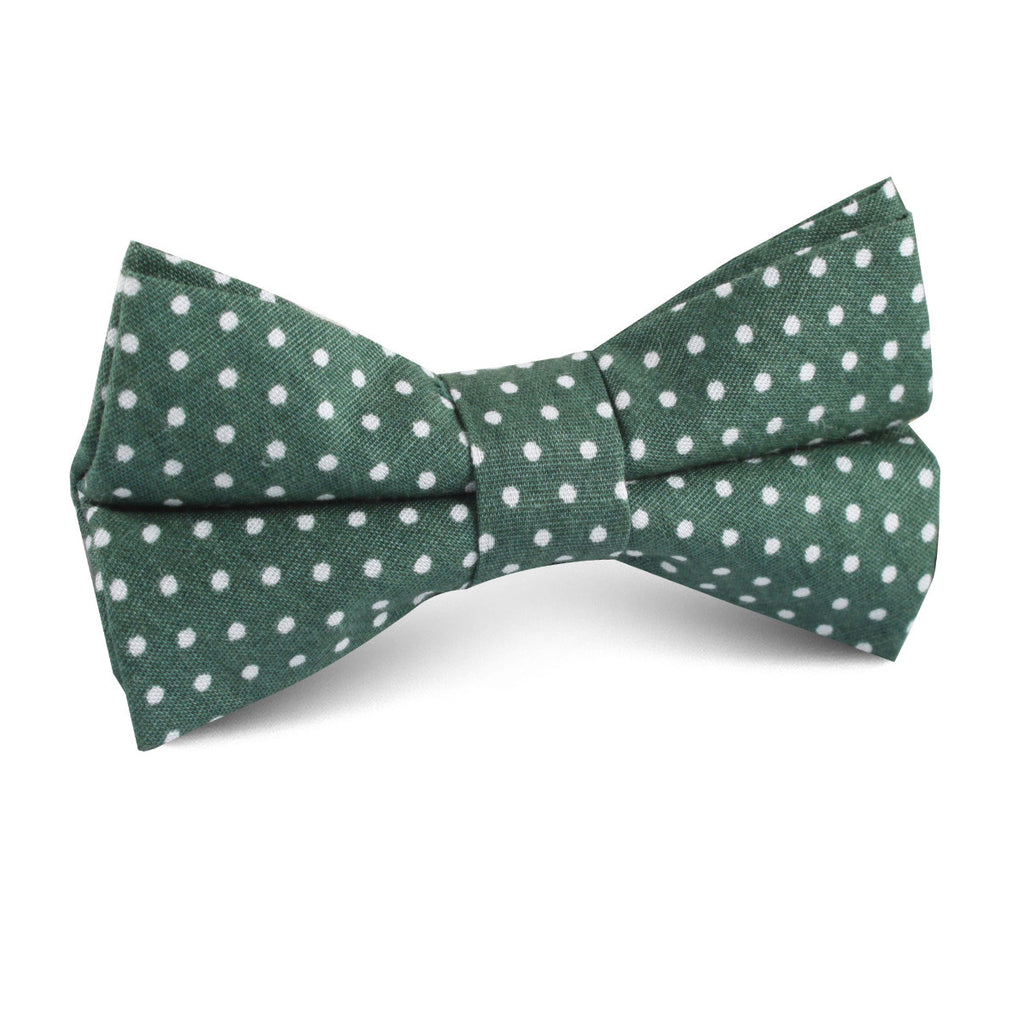 Olive Green Polka Dot Cotton Kids Bow Tie
