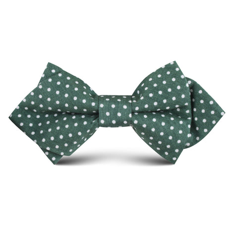 Olive Green Polka Dot Cotton Kids Diamond Bow Tie