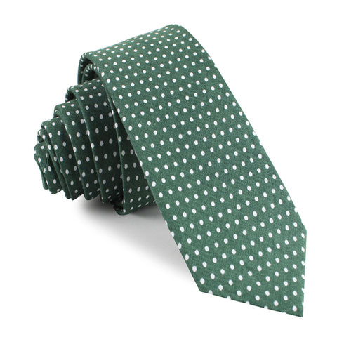 Olive Green Polka Dot Cotton Skinny Tie
