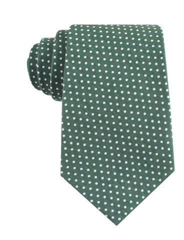 Olive Green Polka Dot Cotton Tie