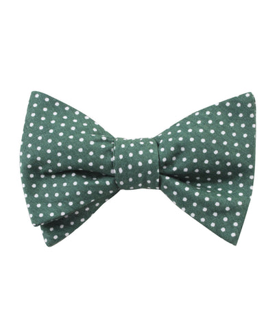 Olive Green Polka Dot Cotton Self Bow Tie