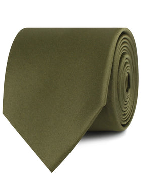 Olive Green Satin Necktie