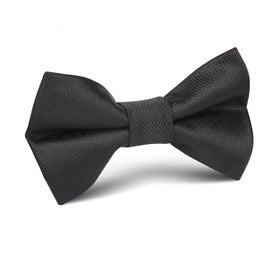 Onyx Black Herringbone Kids Bow Tie