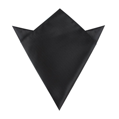 Onyx Black Herringbone Pocket Square