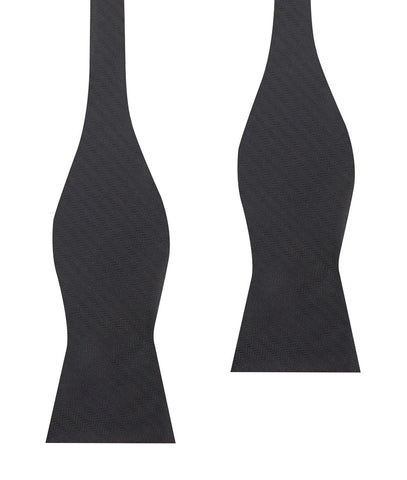 Onyx Black Herringbone Self Bow Tie