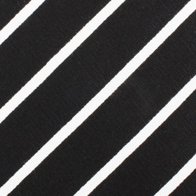 Onyx Black Pencil Striped Linen Bow Tie
