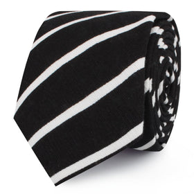 Onyx Black Pencil Striped Linen Skinny Tie