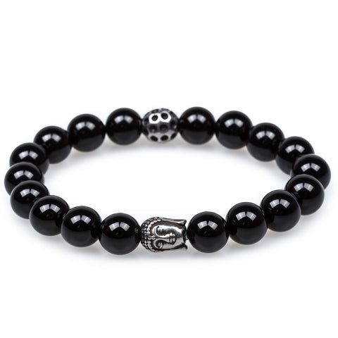 Onyx Marble Stones with Silver Buddha Bracelet