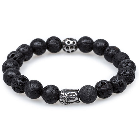 Onyx Matte Stones with Silver Buddha Bracelet