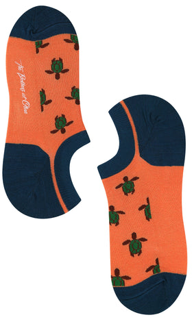 Orange Turtle Low Cut Socks