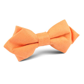 Orange Amber Slub Linen Diamond Bow Tie