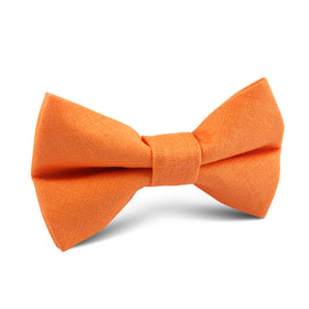 Orange Amber Slub Linen Kids Bow Tie
