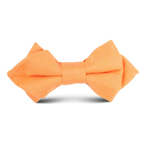 Orange Amber Slub Linen Kids Diamond Bow Tie