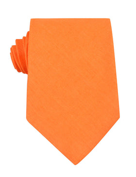 Orange Amber Slub Linen Necktie