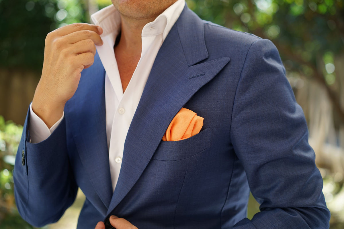 Orange Amber Slub Linen Pocket Square