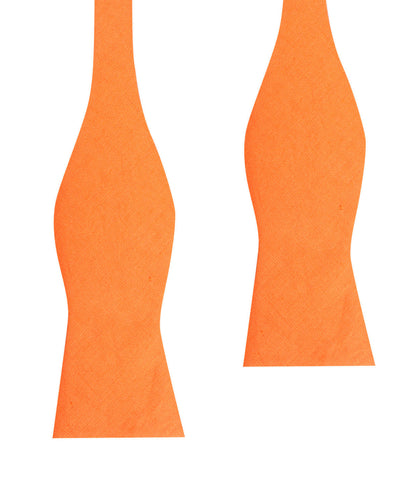 Orange Amber Slub Linen Self Tie Bow Tie