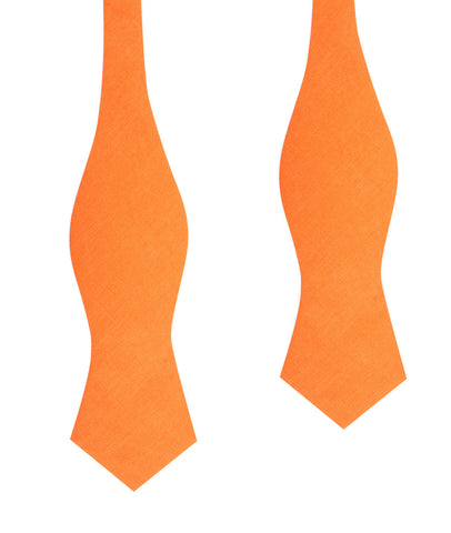 Orange Amber Slub Linen Self Tie Diamond Tip Bow Tie