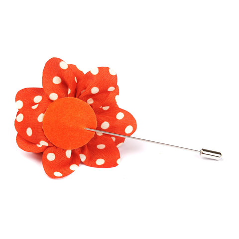 Arancione Orange Lapel Flower With White Polka Dots