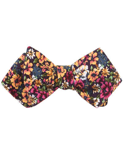 Orange Flowering Maple Diamond Self Bow Tie