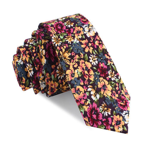 Orange Flowering Maple Skinny Tie