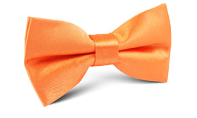 Orange Tangerine Satin Bow Tie