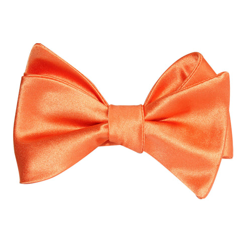 Orange Tangerine Satin Self Tie Bow Tie