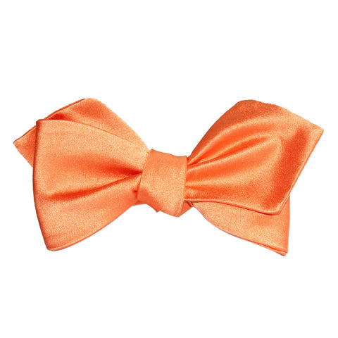 Orange Tangerine Satin Self Tie Diamond Tip Bow Tie