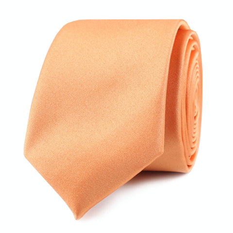 Orange Tangerine Satin Skinny Tie