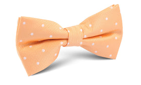 Orange with White Polka Dots Bow Tie