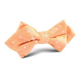 Orange with White Polka Dots Diamond Bow Tie