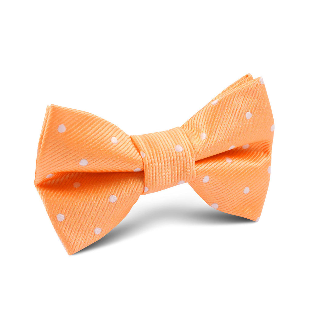 Orange with White Polka Dots Kids Bow Tie