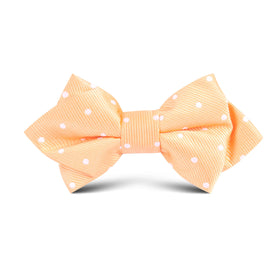 Orange with White Polka Dots Kids Diamond Bow Tie