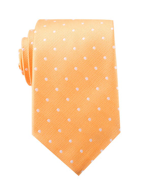 Orange with White Polka Dots Necktie
