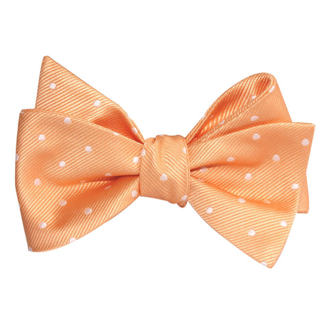 Orange with White Polka Dots Self Tie Bow Tie