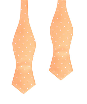 Orange with White Polka Dots Self Tie Diamond Tip Bow Tie